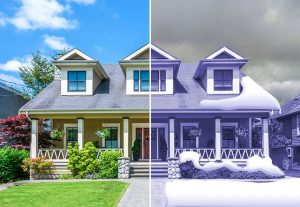 Utah County home in summer and winter